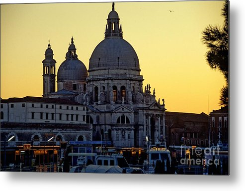 Venice Metal Print featuring the photograph Santa Maria Della Salute On Grand Canal In Venice Against The Evening Sky by Michael Henderson
