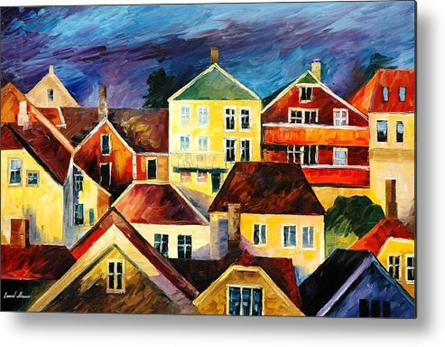 Art Gallery Metal Print featuring the painting Sight From Above - Palette Knife Oil Painting On Canvas By Leonid Afremov by Leonid Afremov