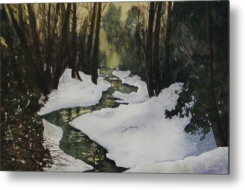 Watercolour Metal Print featuring the painting Silent Snow by Sharon Steinhaus