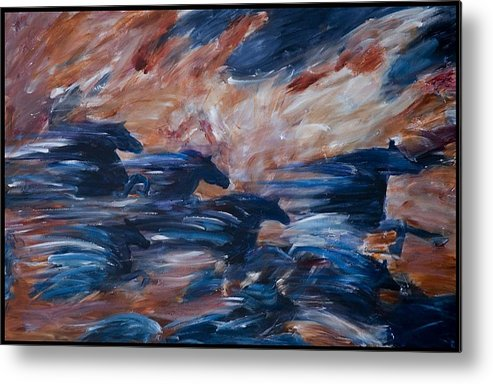 Abstract Metal Print featuring the painting sky herd II by Jennifer White