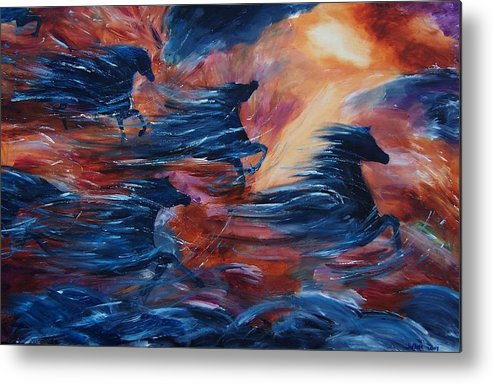 Abstract Metal Print featuring the painting Sky Song by Jennifer White
