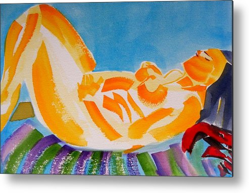 Watercolor On Paper Metal Print featuring the painting Sleeping Beauty Beach Side by Patricia Bigelow