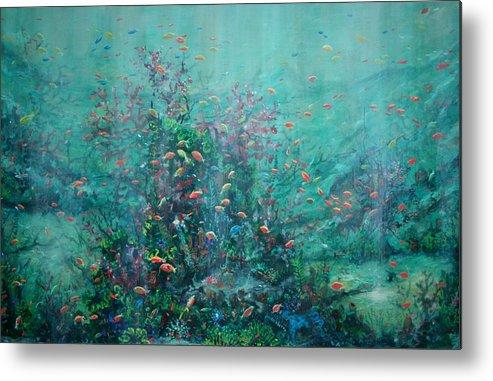 Unaderwater Paintings Metal Print featuring the painting Spring Underwater  by Ana Bikic