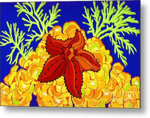 Nature Metal Print featuring the drawing Starfish by Lucyna A M Green