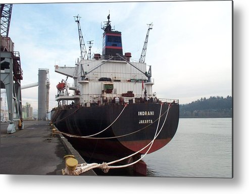 Vessel Metal Print featuring the photograph Stern Of The Vessel Indrani At Dock by Alan Espasandin