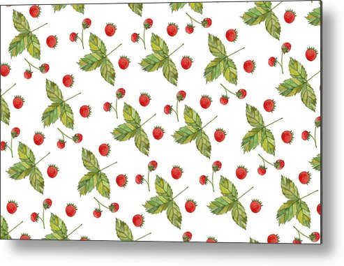 Strawberry Metal Print featuring the painting Strawberry Pattern by Anastasia Stepanova