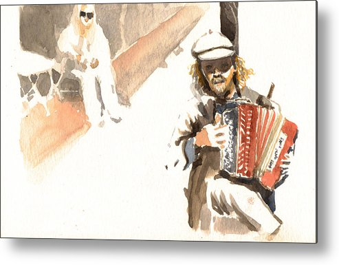 Street Metal Print featuring the painting Street Musician by Omar Jaramillo