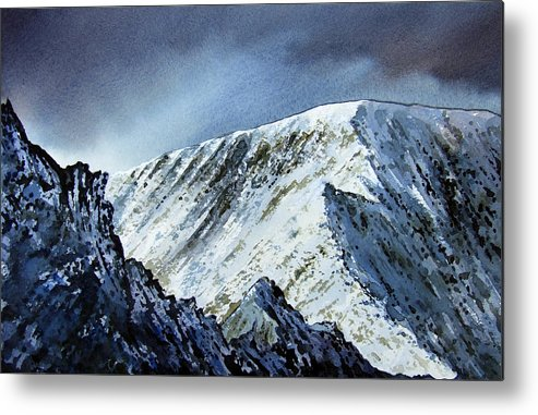 Mountain Metal Print featuring the painting Striding Edge On Helvellin by Paul Dene Marlor