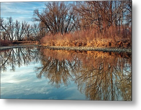 Fine Art Greeting Cards. Sunrise Greeting Cards. Sunrise Photography. Water Refection Photography. Water Refection Greeting Cards. Water Refection Canvas Wall Art. Sunrise Greeting Card. Sunrise Photography.sky Water. Trees. Blue Sky. Wildlife Ducks. Geese. Water Flow. Lakes. Shore. Ponds. Rabbets. Deer. Elk. Metal Print featuring the photograph Sunrise At River Bend Ponds by James Steele