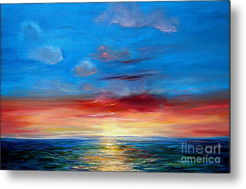 Seasca[e.ainting Metal Print featuring the painting Sunset In Florida Key West. by Jeannette Ulrich