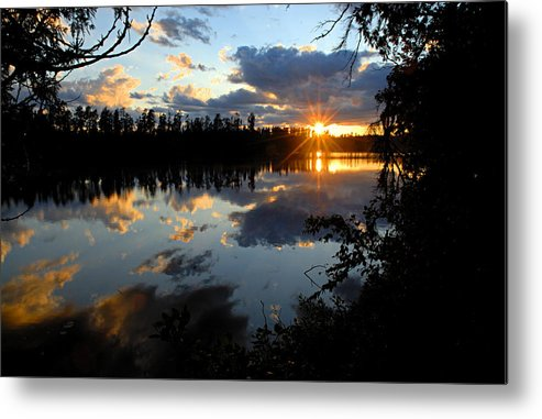 Boundary Waters Canoe Area Wilderness Metal Print featuring the photograph Sunset On Polly Lake by Larry Ricker