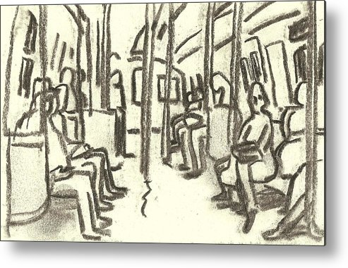 Subway Metal Print featuring the painting Take The A Train, Nyc by Thor Wickstrom