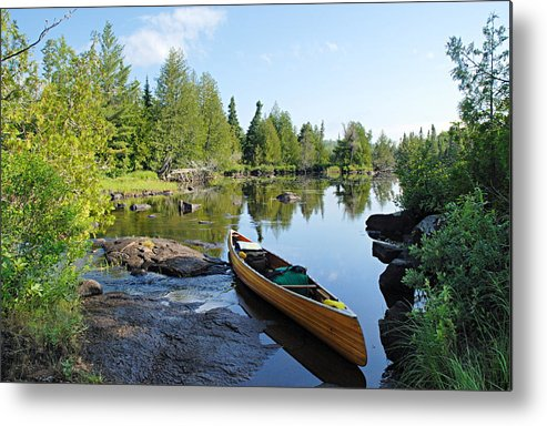 Boundary Waters Canoe Area Wilderness Metal Print featuring the photograph Temperance River Portage by Larry Ricker
