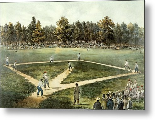 The Metal Print featuring the painting The American National Game Of Baseball Grand Match At Elysian Fields by Currier and Ives