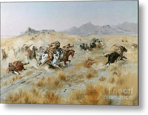 Bows Metal Print featuring the painting The Attack by Charles Marion Russell