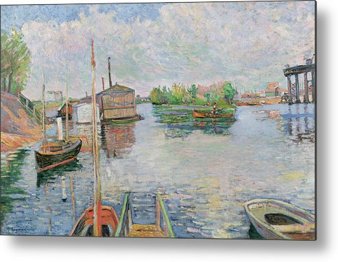 The Metal Print featuring the painting The Bateau Lavoir At Asnieres by Paul Signac