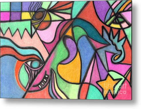 Abstract Art Metal Print featuring the pastel The Dragon's Eyes by Christine Perry