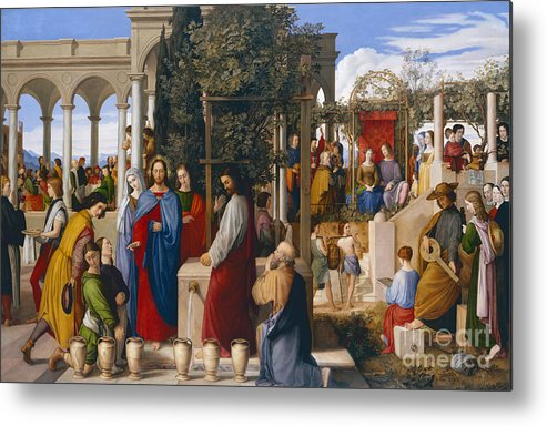 The Marriage At Cana Metal Print featuring the painting The Marriage At Cana by Julius Schnorr von Carolsfeld
