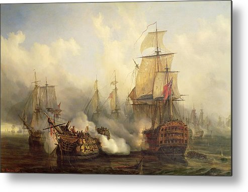 The Metal Print featuring the painting The Redoutable At Trafalgar by Auguste Etienne Francois Mayer