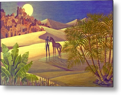 Desert Moon Ancient City Horse Quest Jungle Mystery Metal Print featuring the painting The Traveller by Jennifer Baird