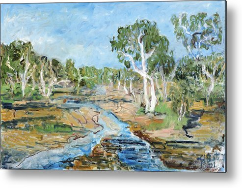 Australia Trees Eucalyptus Alice Springs River Dry White Bark Blue Sky Metal Print featuring the painting Todd River by Joan De Bot