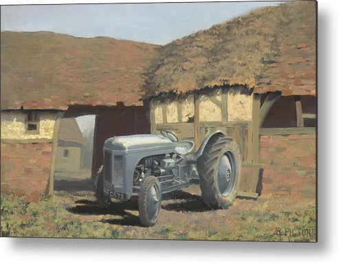 Tractor Metal Print featuring the painting Tractor And Barn by Richard Picton