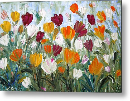 Oil Metal Print featuring the painting Tulips Garden by Luiza Vizoli