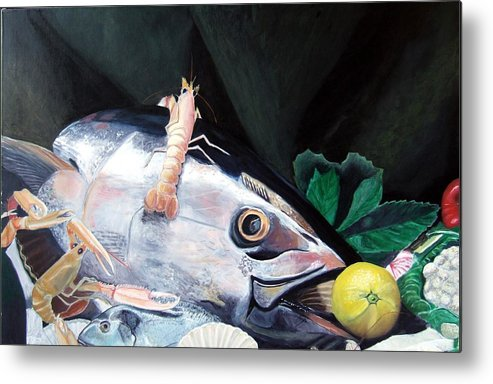 Still Life Metal Print featuring the painting Tuna Head In Venice by Michael Henderson