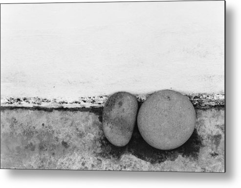 Abstract Metal Print featuring the photograph Two Stones - Sao Miguel - Azores by Henry Krauzyk
