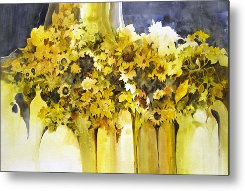 Yellow Flowers;sunflowers;vases;floral;contemporary Floral; Metal Print featuring the painting Vases Full Of Blooms  by Lois Mountz