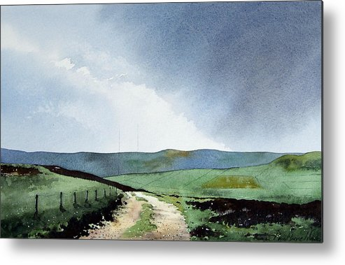 Landscape Metal Print featuring the painting View Over Pole Moor by Paul Dene Marlor
