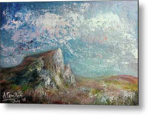 Metal Print featuring the painting Virtual Mountain by Anthony Camilleri