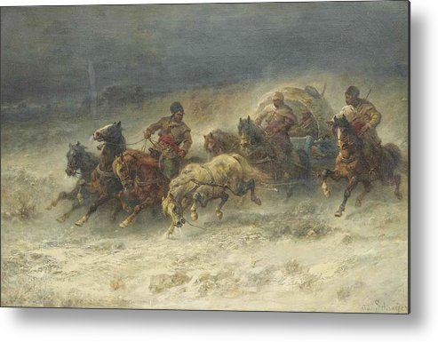 Adolf Schreyer Metal Print featuring the painting Wagon by Adolf Schreyer