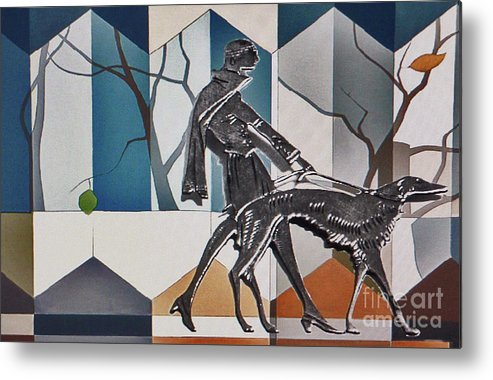 Silver Metal Print featuring the mixed media Walking The Dog by Jerry L Barrett