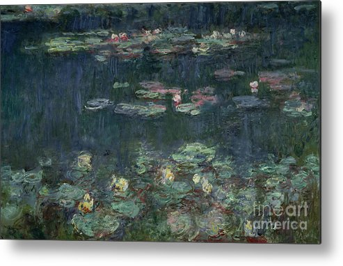 Monet Metal Print featuring the painting Waterlilies Green Reflections by Claude Monet