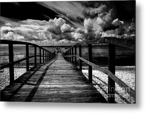 Southend On Sea Wharf Clouds Beach Sand Metal Print featuring the photograph Wharf At Southend On Sea by Sheila Smart Fine Art Photography