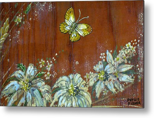 Wildflowers Metal Print featuring the painting Wheat 'n' Wildflowers IIi by Phyllis Mae Richardson Fisher