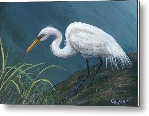 Heron Metal Print featuring the painting White Heron by Peggy Conyers