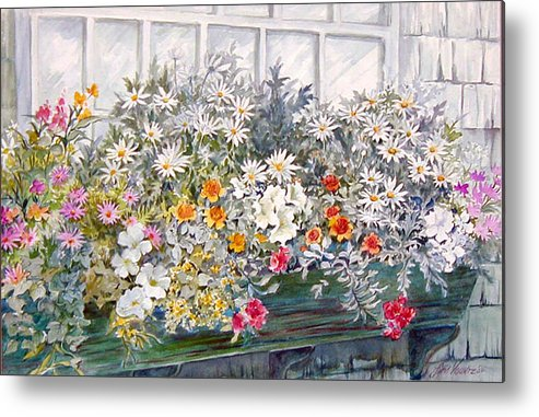 Floral;daisies;pastels; Metal Print featuring the painting Window Box In The Sun by Lois Mountz