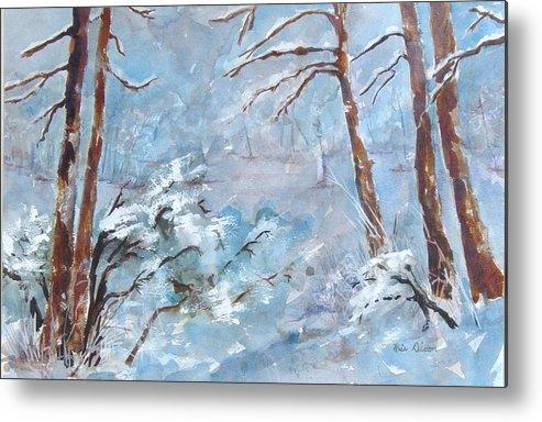 Landscape Metal Print featuring the painting Winter Breeze by Kris Dixon
