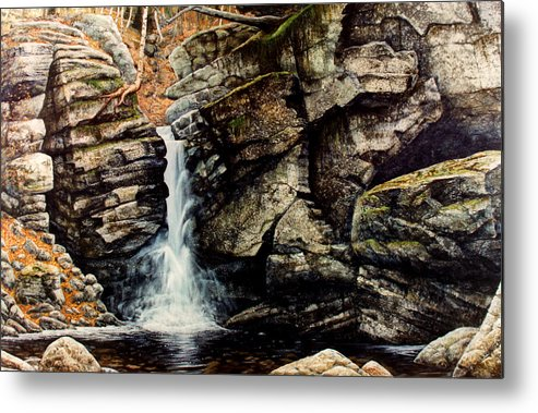 Waterfall Metal Print featuring the painting Woodland Falls by Frank Wilson