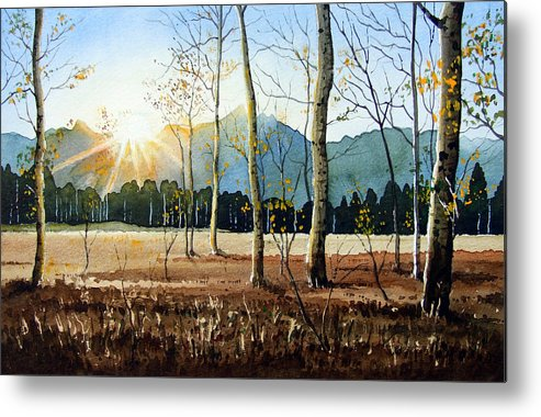 Landscape Metal Print featuring the painting Woodland Sunset by Paul Dene Marlor