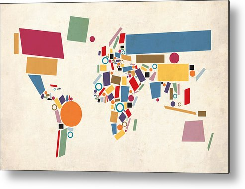 World Map Metal Print featuring the digital art World Map Abstract by Michael Tompsett