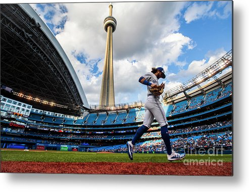 People Metal Print featuring the photograph New York Yankees V Toronto Blue Jays by Mark Blinch