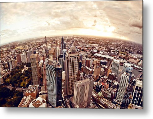 Harbour Metal Print featuring the photograph Aerial View Of Downtown Sydney At by Andrey Bayda