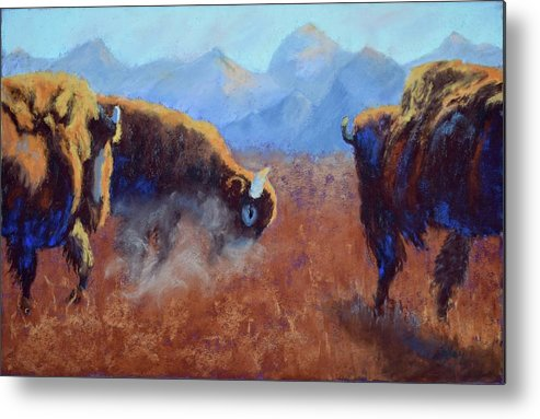 Bison Metal Print featuring the painting Big Thunder by Nancy Jolley