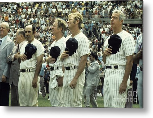 American League Baseball Metal Print featuring the photograph Boston Red Sox V New York Yankees by Olen Collection
