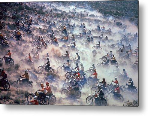 Crash Helmet Metal Print featuring the photograph Mint 400 Motocross Race by Bill Eppridge