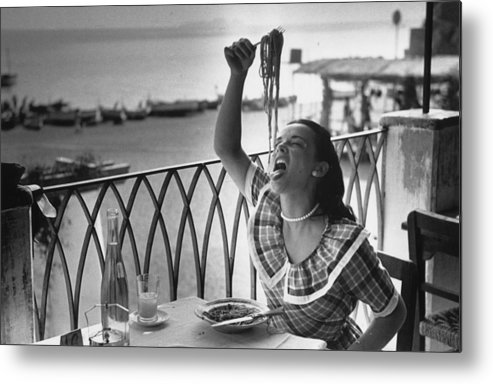 Italian Food Metal Print featuring the photograph Pasta With Gusto by Bert Hardy
