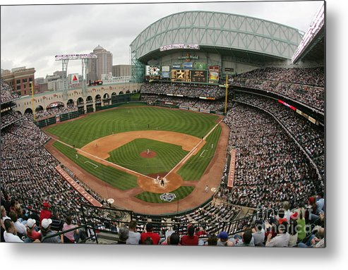 Minute Maid Park Metal Print featuring the photograph St. Louis Cardinals V Houston Astros by Ronald Martinez